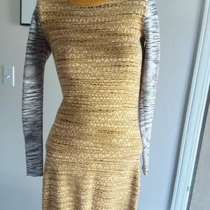 French Connection Sweater Dress- Yellow and Grey